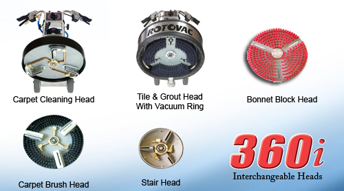 Carpet Cleaning Head, Tile & Grout Head with Vacuum Ring, Bonnet Block Head, Carpet Brush Head, Stair Head