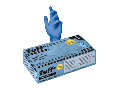 TUFF nitrile disposable gloves heavy duty 50 pack blue