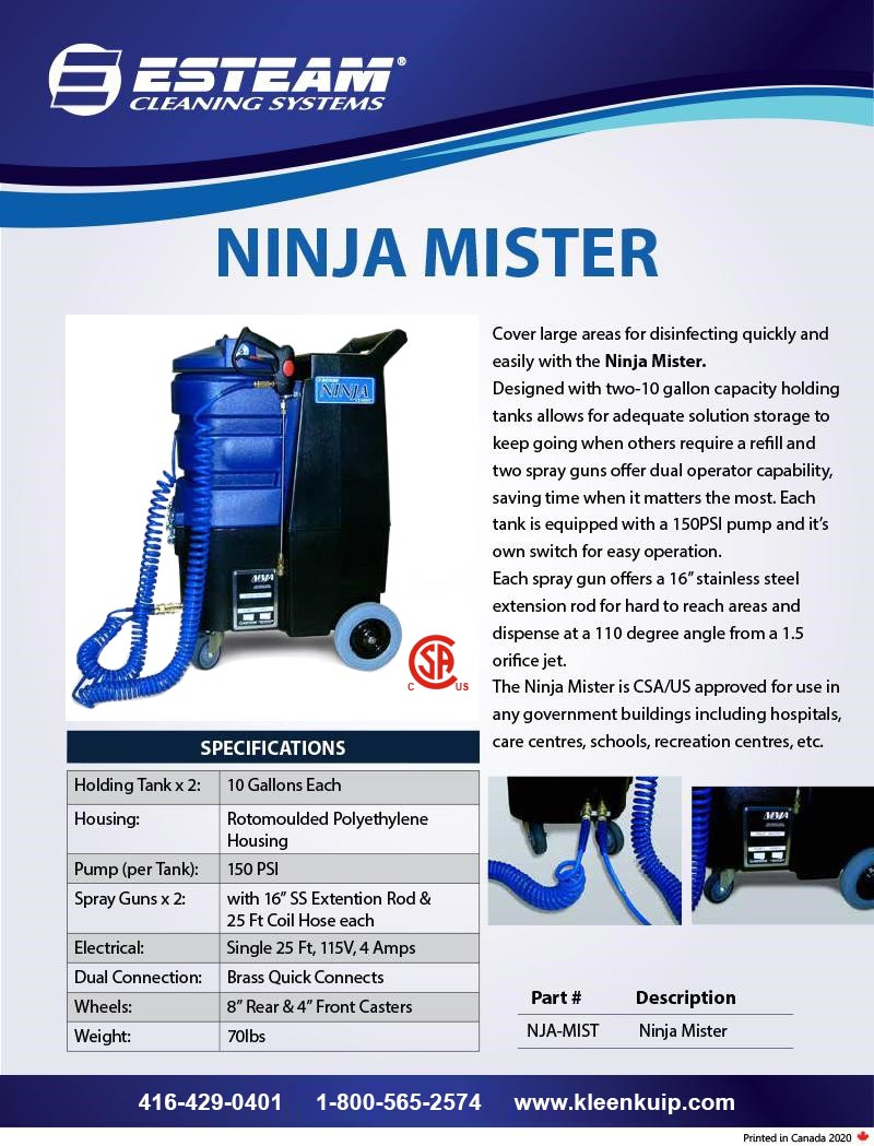 ninja mister pump disinfectant spraying machine sanitizing carpet traffic lane presprayer