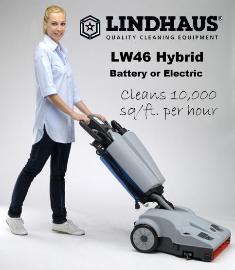 lindhaus lw46 hybrid battery electric floor scrubber drier machine