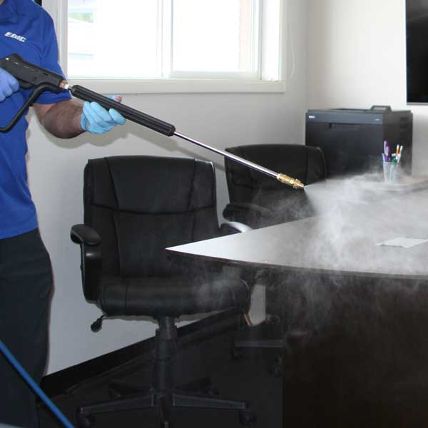 office building spraying disinfectant
