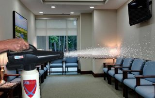 coronavirus disinfecting waiting room spraying